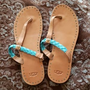 Like New! UGG Teal & Tan Leather Sandals